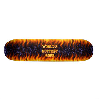 World s hottest Boss fire and flames blue marble Skateboard Deck