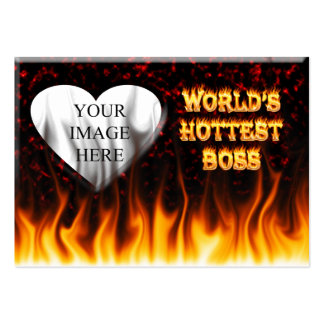 World s hottest Boss fire and flames red marble Business Card