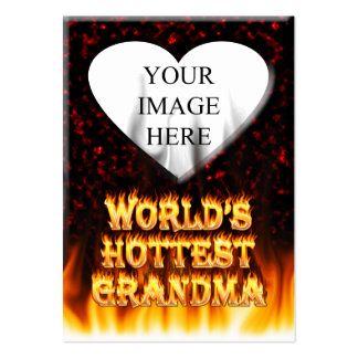 World s hottest Grandma fire and flames red marble Business Card Templates