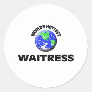 World s Hottest Waitress Round Sticker