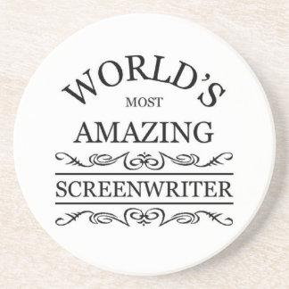 World s most amazing Screenwriter Beverage Coasters