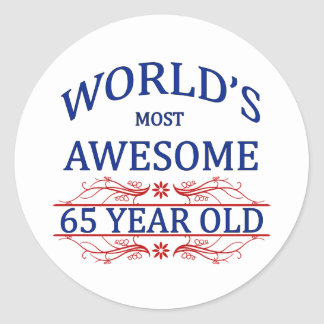 World s Most Awesome 65 Year Old Sticker