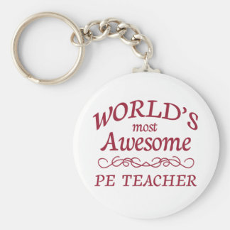 World s Most Awesome PE Teacher Keychain