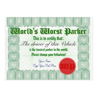 World s Worst Parker Bad Parking Award Certificate Business Card Templates