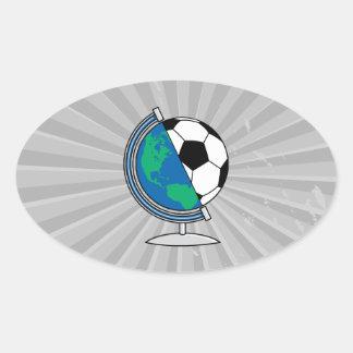 world soccer globe oval sticker