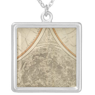 World south hemisphere map silver plated necklace