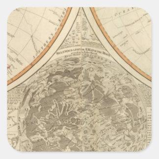 World south hemisphere map square sticker