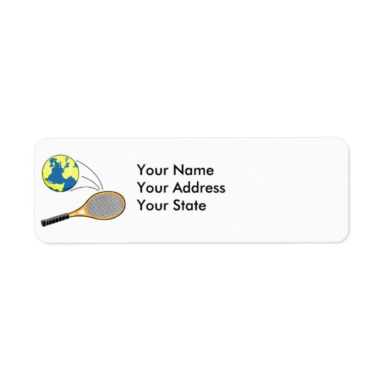 world tennis sports design return address label
