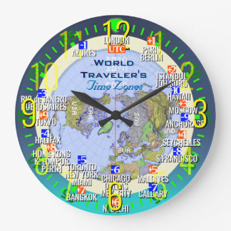 World Time Zones Wall Clock