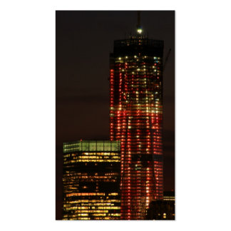 World Trade Center lit up in Red Close Up Business Cards