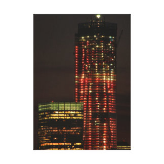 World Trade Center lit up in Red Close Up Stretched Canvas Prints