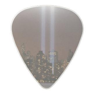 World trade center tribute in light in New York. Acetal Guitar Pick