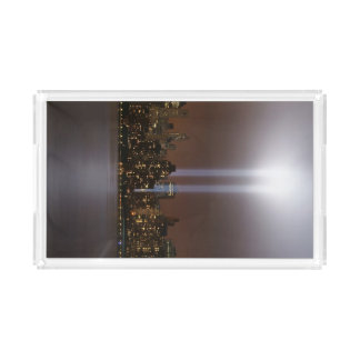 World trade center tribute in light in New York. Acrylic Tray