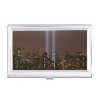 World trade center tribute in light in New York. Business Card Holder