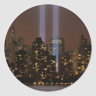 World trade center tribute in light in New York. Classic Round Sticker