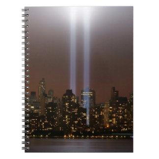 World trade center tribute in light in New York. Notebook