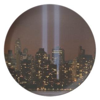 World trade center tribute in light in New York. Plate