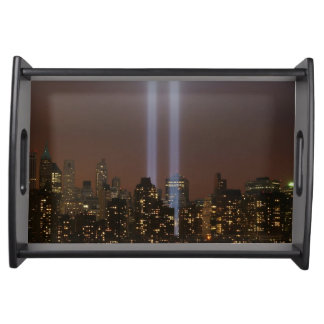 World trade center tribute in light in New York. Serving Tray