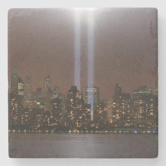 World trade center tribute in light in New York. Stone Coaster