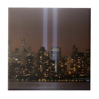 World trade center tribute in light in New York. Tile