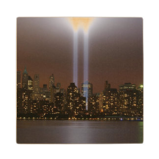 World trade center tribute in light in New York. Wood Coaster