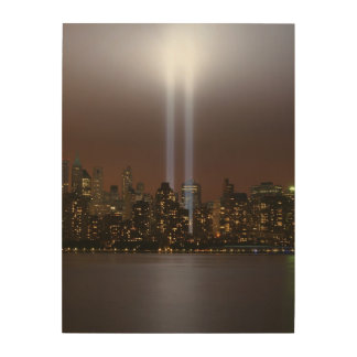World trade center tribute in light in New York. Wood Print