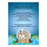 World Travel Bar Bat Mitzvah Snow Globe Personalised Invitation