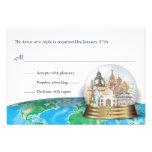 World Travel Bar Bat Mitzvah Snow Globe Reply Personalised Invitations
