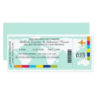 World Travel Boarding Pass Wedding Ticket 10 Cm X 24 Cm Invitation Card