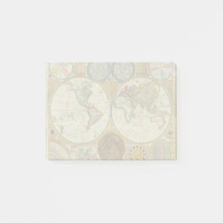 World Travel Map Antique Vintage Post-it Notes