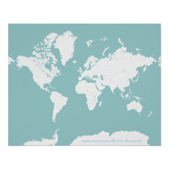 World Travel Map Customisable Background Colour Poster Zazzle Co Uk