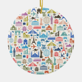world travel round ceramic decoration