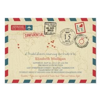 World Traveler Airmail | Bridal Shower 13 Cm X 18 Cm Invitation Card