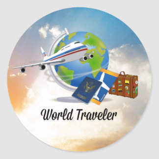 World Traveler, Packed and Ready to Go Classic Round Sticker