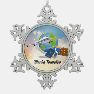 World Traveler--Packed and ready to go, design 2 Snowflake Pewter Christmas Ornament