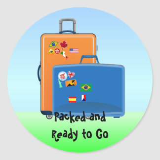 World Traveler, Packed and Ready to Go, Luggage Classic Round Sticker