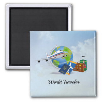 World Traveler, packed and ready to go Magnet