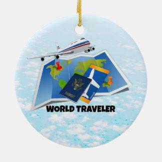 World Traveler Round Ceramic Decoration