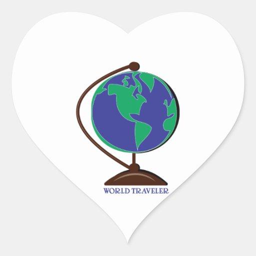 World Traveler Heart Stickers