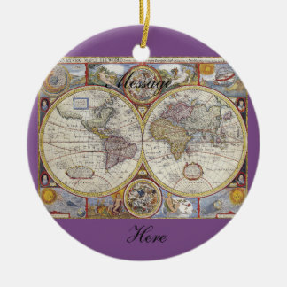 World Traveler Vintage Map Thunder_Cove Christmas Ornament