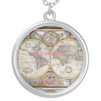 World Traveler Vintage Map Thunder_Cove Silver Plated Necklace