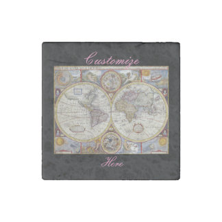 World Traveler Vintage Map Thunder_Cove Stone Magnet