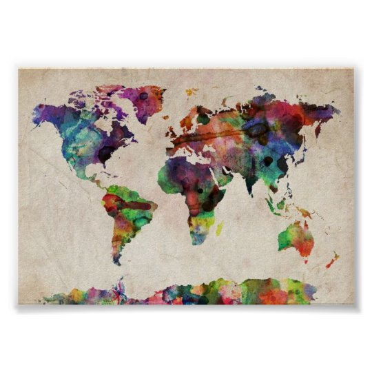 world traveller map vintage rustic poster print