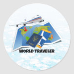 World Traveller Round Sticker