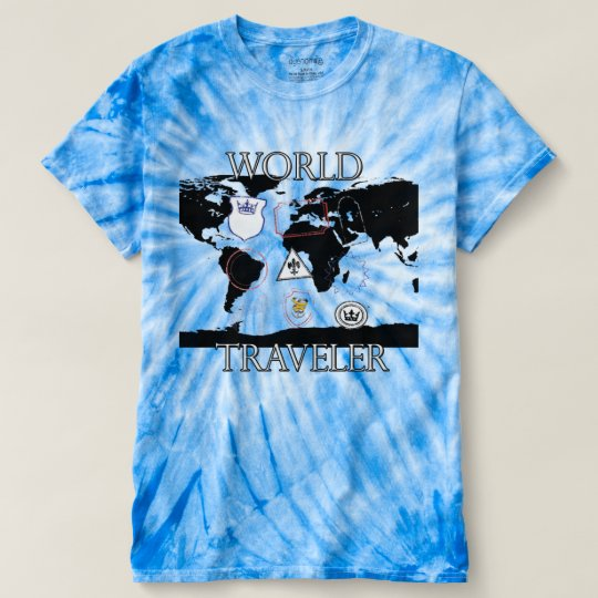 World Traveller Tie Dye shirt. T-Shirt