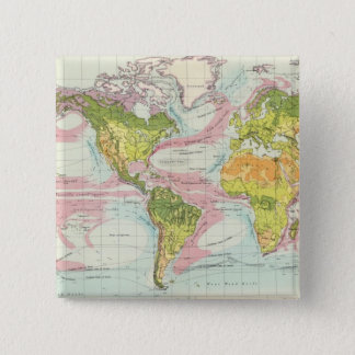 World vegetation & ocean currents Map 15 Cm Square Badge