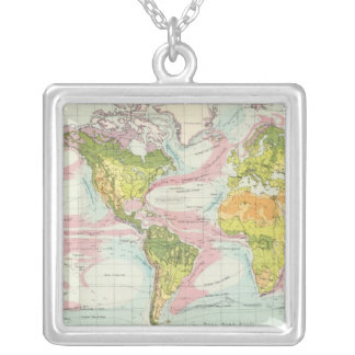 World vegetation & ocean currents Map Silver Plated Necklace