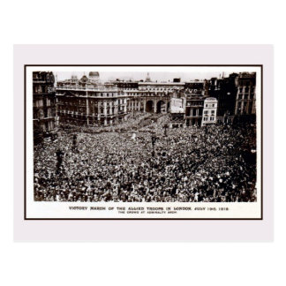 World War 1 allies victory March in London Postcard
