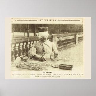 World War 1, France, Rehabilitation, Basket Maker Poster