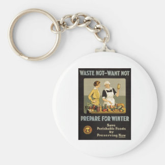 World War 1 poster. Waste not, want not. Basic Round Button Key Ring
